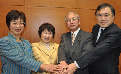 (左から)柳沢けさみ、かとう典子、だて勲、いたくら正文の各氏