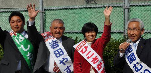 一宮市議選予定候補者 (左から)はしもと浩三、岩田やすお、ひこさか和子、尾関むねおの各氏