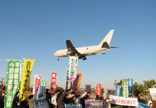 航空自衛隊小牧基地に配備された空中給油機=1月8日、愛知県営名古屋空港